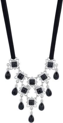 1928 Downton Abbey Black Ribbon & Black Stone Bib Necklace