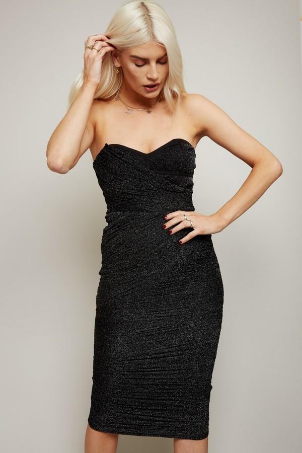 Thumbnail for your product : Little Mistress Inessa Black Glitter Mesh Bandeau Midi Dress