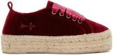 Manebi Red Velvet Hamptons Sneaker Espadrilles