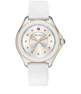 Michele Cape Topaz Watch w/Silicone Strap, White/Golden