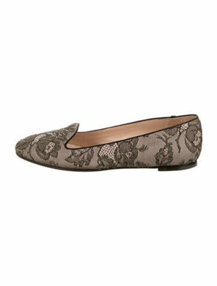 Valentino Lace Pattern Beaded Accents Loafers