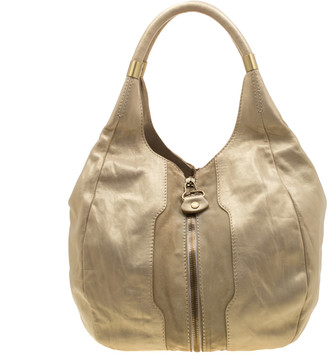 Jimmy Choo Metallic Gold Leather and Suede Mandah Expandle Hobo