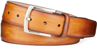 Magnanni Men's Square-Buckle Calf Leather Belt