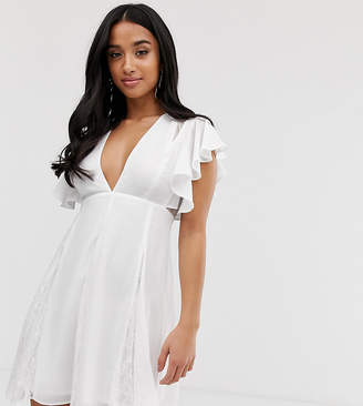 Asos DESIGN Petite mini dress with godet lace inserts-White