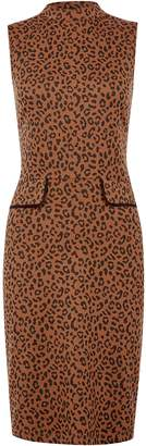 Dorothy Perkins Womens Brown Leopard Print Shift Dress, Brown