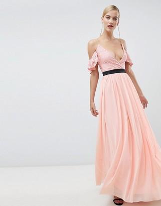 Rare London lace top contrast skirt maxi dress-Pink