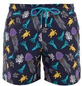 Vilebrequin Moorea Aquatic-print Swim Shorts - Mens - Navy Multi
