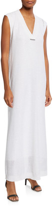 Brunello Cucinelli V-Neck Linen-Silk Column Dress w/ Monili Tab