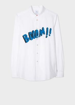 Paul Smith Men's White 'Boom' Print Cotton Shirt