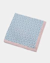 Ditsy leaf print silk pocket square