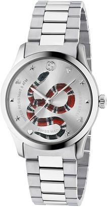 Gucci 38MM G-Timeless Snake Bracelet Watch in Silver   FWRD
