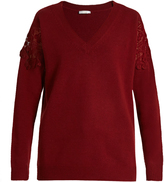 Chloé Lace-insert wool and cashmere-blend sweater