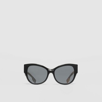 Burberry Vintage Check Detail Butterfly Frame Sunglasses