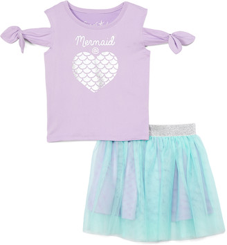 Freestyle Revolution Girls' Casual Skirts MULTI - Lavender 'Mermaid at Heart' Cutout Tee & Turquoise Tutu - Toddler & Girls