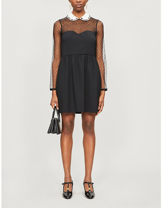 RED Valentino Embellished semi-sheer tulle and crepe mini dress