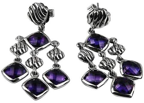 David Yurman Sterling Silver Amethyst Dangling Cushion Earrings