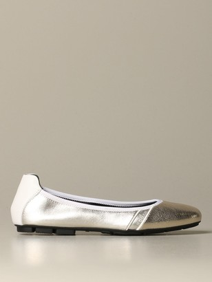 Hogan Ballet Flat In Laminated Leather