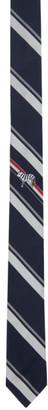 Thom Browne Navy Silk Stripe Classic Tie
