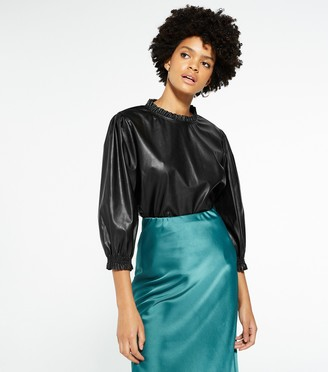 New Look Leather-Look Puff Sleeve Top