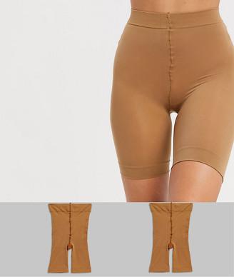 Asos Design DESIGN anti-chafing shorts 2 pack in Golden Bronze-Beige