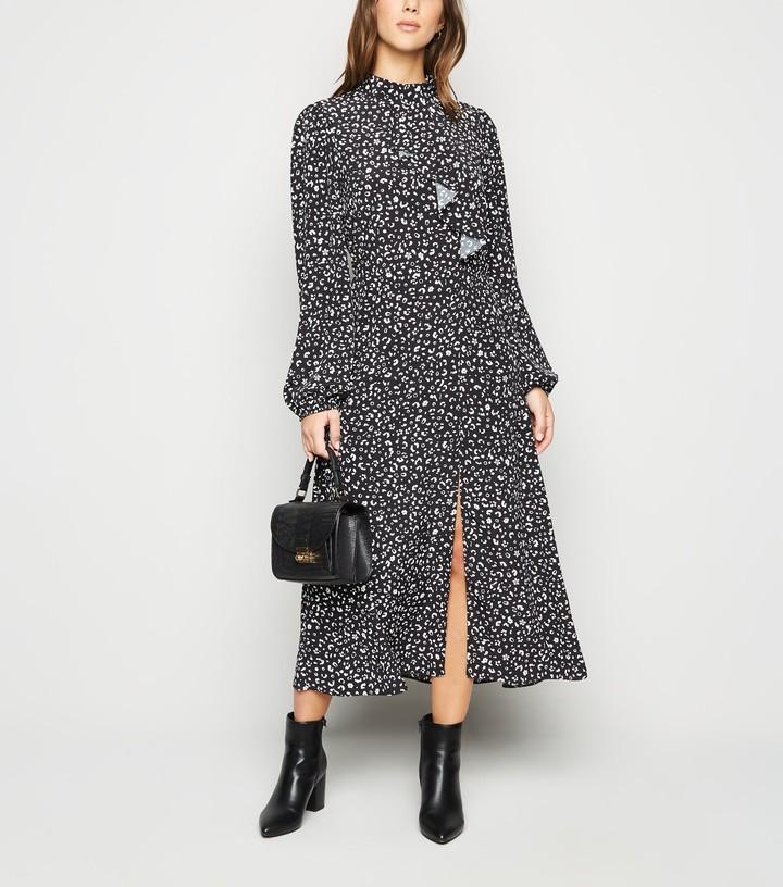 New Look Animal Print Ruffle Front Midi Dress