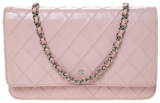 Chanel Light Pink Leather Classic Wallet on Chain