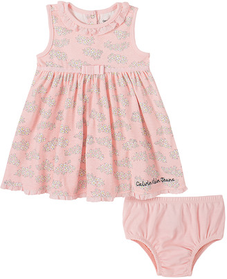 Calvin Klein Jeans Girls' Casual Dresses 0014 - Pink Floral Ruffle Babydoll Dress & Diaper Cover - Infant