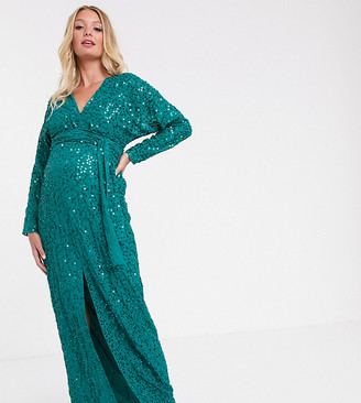 Asos DESIGN Maternity maxi dress with batwing sleeve and wrap waist in scatter sequin-Green
