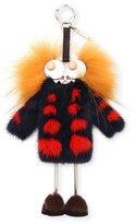 Fendi Girl Legs Mink-Coat Charm for Handbag, Navy/Red/Yellow