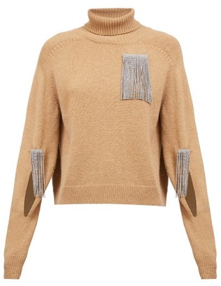Christopher Kane Crystal-tassel Cut-out Wool-blend Sweater - Camel
