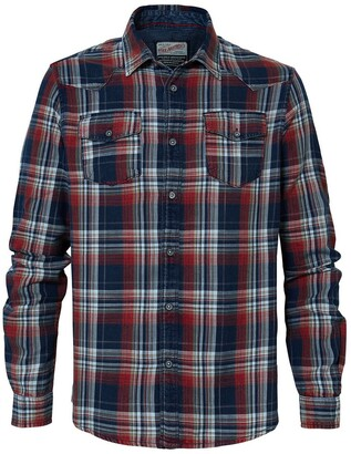 Petrol Industries Cotton Slim Fit Shirt in Checked Print with 2 Breast Pockets