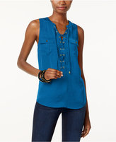 INC International Concepts Petite Lace-Up Top, Only at Macy's