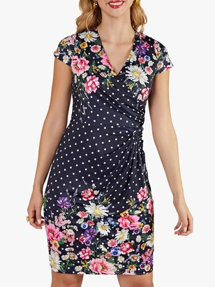 Yumi Daisy Print Polka Dot Wrap Dress, Navy