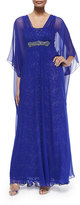 Rickie Freeman For Teri Jon Caftan Dress W/ Sequined Underlay