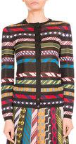 Mary Katrantzou Multi-Stripe Tie-Print Cardigan