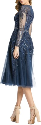Mac Duggal Embellished Long Sleeve Fit & Flare Midi Cocktail Dress