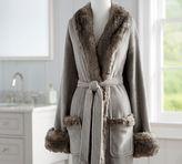 Pottery Barn Faux Fur Robe Without Hood - Gray/Chinchilla