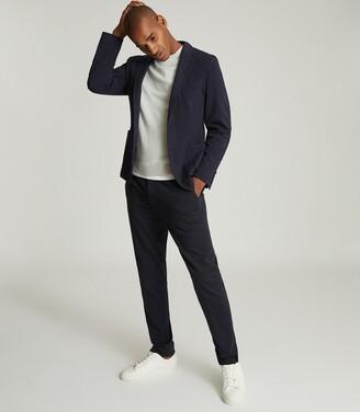 Reiss Flexo - Slim Fit Jersey-stretch Blazer in Navy