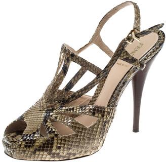 Fendi Green Python Platform Ankle Strap Sandals Size 40