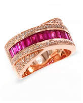 Effy 14K Rose Gold 0.30Ct. T.W. Diamond and 1.48Ct. Natural Ruby Ring