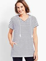 Talbots Saltwater Stripe Hooded Short-Sleeve Terry Pullover
