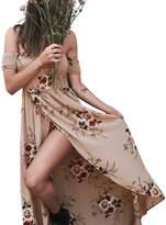 Berrygo Women's Bohemian Off Shoulder Floral Print Maxi Dress