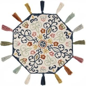 Bungalow Rose Rashida Hand-Hooked Wool Ivory/Blue Area Rug