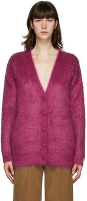 Saint Laurent Purple Brushed Wool Cardigan