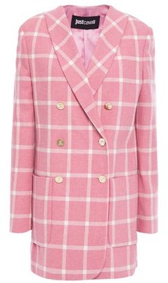 Just Cavalli Double-breasted Checked Woven Blazer