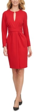 DKNY Keyhole-Cutout Faux-Wrap Dress
