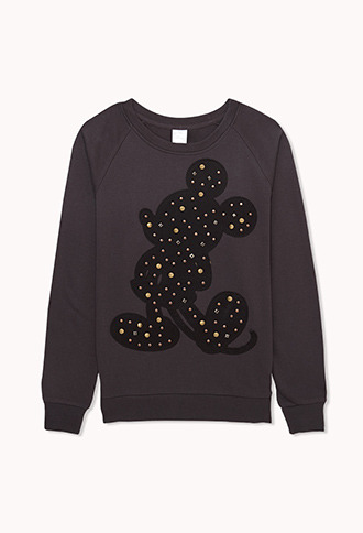 Forever 21 Studded Mickey Mouse© Sweatshirt