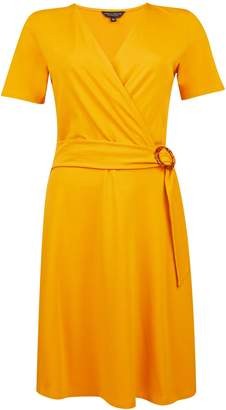 Dorothy Perkins Womens Yellow Horn Effect Buckle Wrap Style Jersey Fit And Flare Dress, Yellow