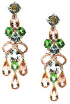 Tresor Collection - 18K Yellow Gold, Multicolor Sapphire and Diamond Earrings