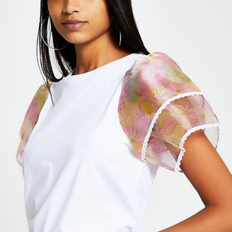 River Island White floral organza frill sleeve T-shirt